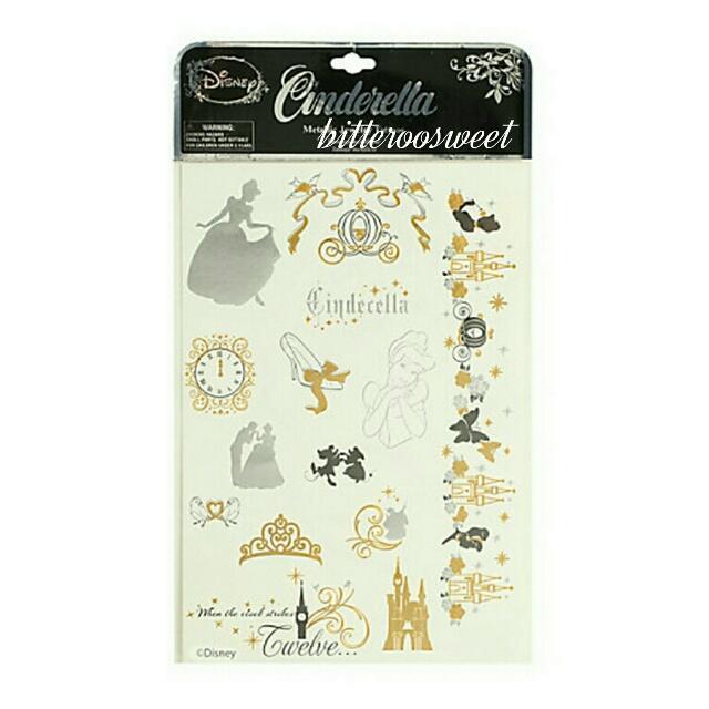 Disney迪士尼灰姑娘Cinderella公主燙金刺青貼紙/紋身貼紙