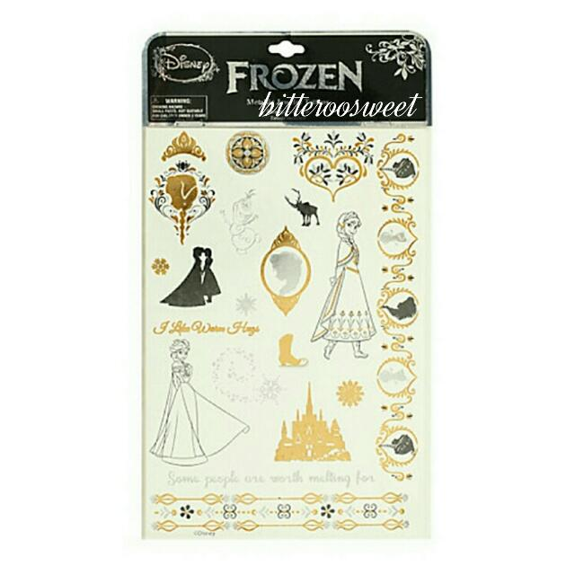 Disney迪士尼冰雪奇緣Elsa公主燙金刺青貼紙/紋身貼紙