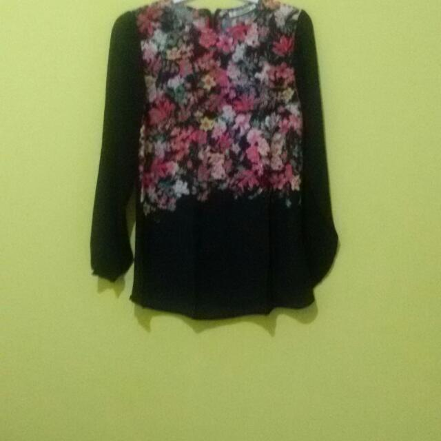 sale 20% - Flower Long Sleeve Blouse