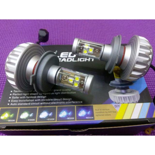 H4 LED大燈 無風扇 黃白兩用 3000LM 3000k /6000k / 430K