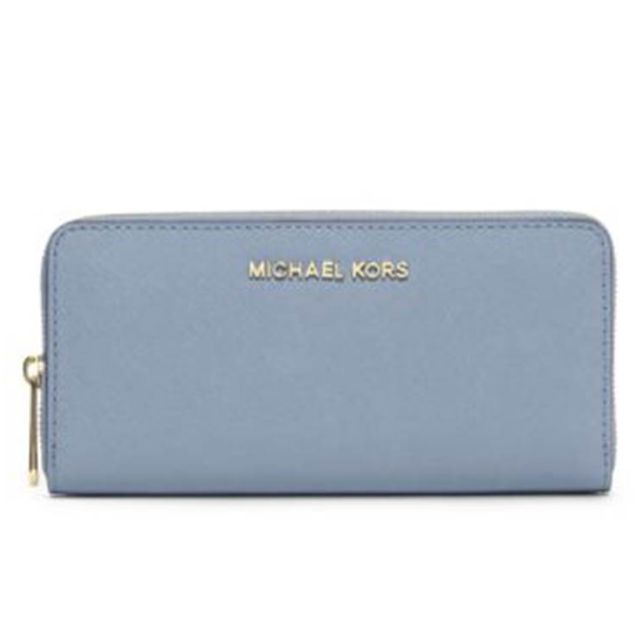 MK 藍色長夾Jet Set Leather Continental Travel Wallet michael kors