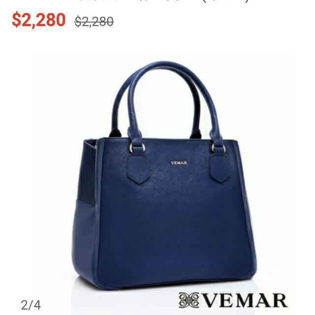 VEMAR簡約俐落滾邊肩背手提包(深藍色)
