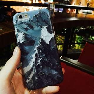 iphone 歐美風 個性簡約 油畫刮漆 山 手機殼