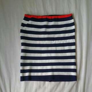 Blue & white Knit Stripes skirt