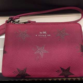Coach Wristlet In Pink And Stars - $45