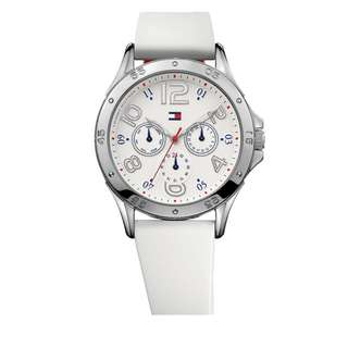 515d975ab Tommy Hilfiger Ladies White Silicone Strap Round Dial Watch with Red Accent