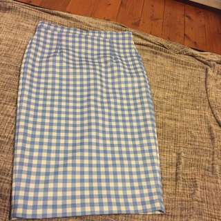Pin Up Blue Gingham Midi Skirt Sz 14