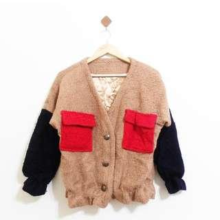 毛料縮腰超可愛撞色外套