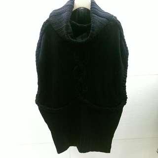 MANGO 黑色粗麻花編織針織背心洋裝