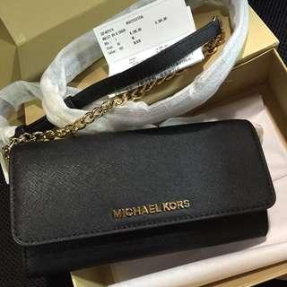 MICHAEL KORS全新專櫃正品Jet Set Chain Travel Wallet兩用長夾/手拿包/斜背包