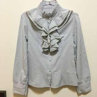 荷葉領淺灰襯衫