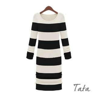 修身條紋針織洋裝 TATA