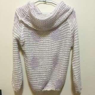 大翻領混色針織毛衣