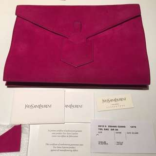 YSL Suede Fuschia/Pink Envelope Clutch With Certificate