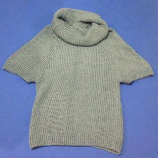 [全新]五分袖深灰混色大圍脖毛衣