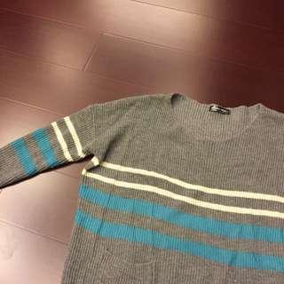 百搭條紋灰色針織衫