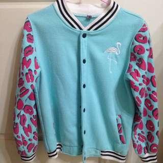 湖水綠棒球外套mix粉色豹紋