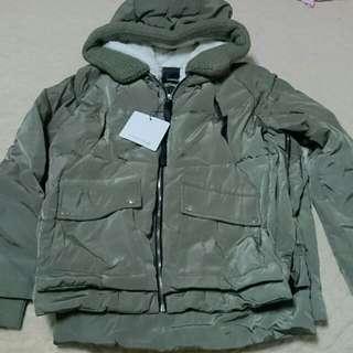 歐美韓版軍綠色羽絨大衣外套舖毛