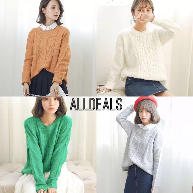全新韓版4色修身麻花寬鬆針織毛衣✨✨