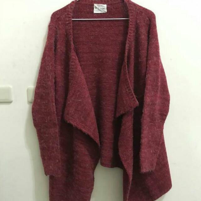 [保留]酒紅色開襟針織外套