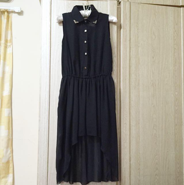 黑色金屬裝飾領背心洋裝