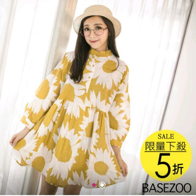 黃色大花朵洋裝