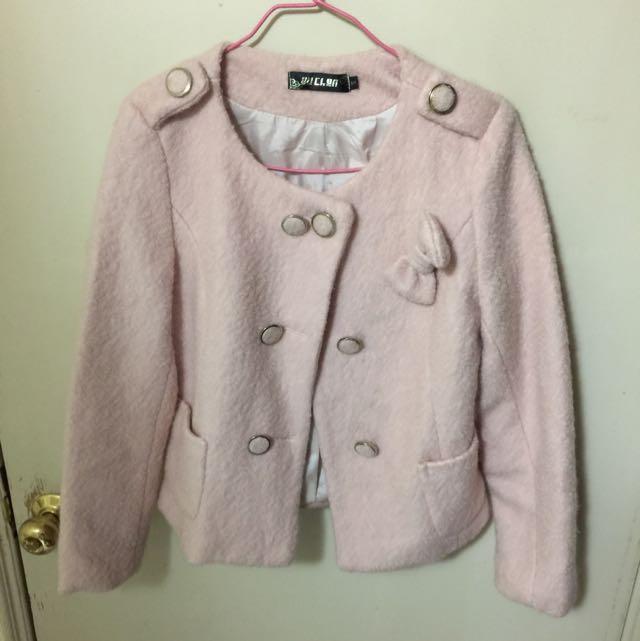 甜美風粉色蝴蝶結外套