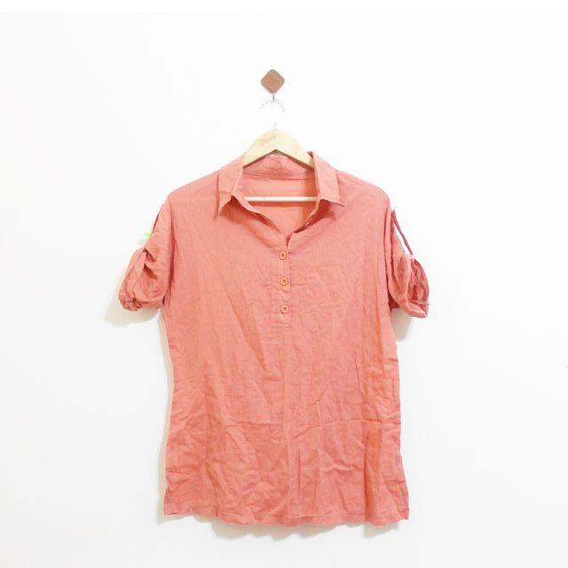 亮色翻袖基本款好搭休閒襯衫