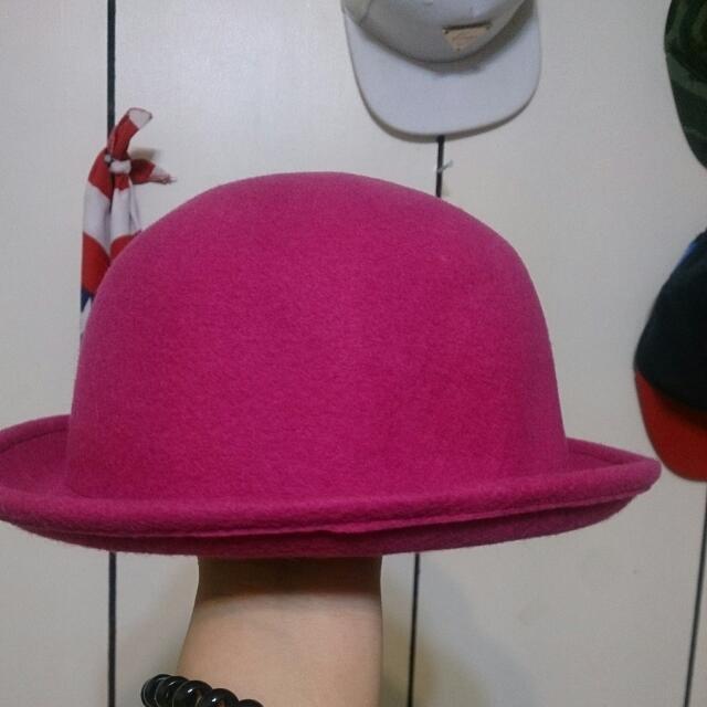 復古桃紫圓帽