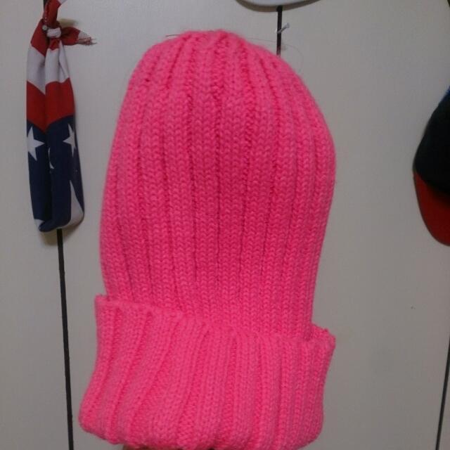 螢光桃毛帽