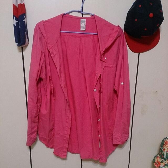 桃紅長版連帽薄外套