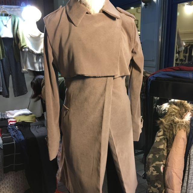 正韓~裸色長大衣