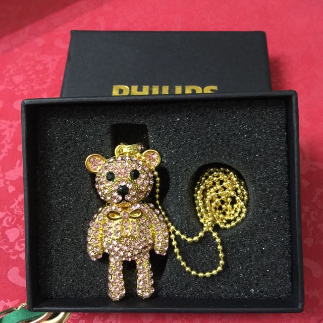 菲利浦施華洛士奇晶鑽小熊項鍊吊飾 4GUSB