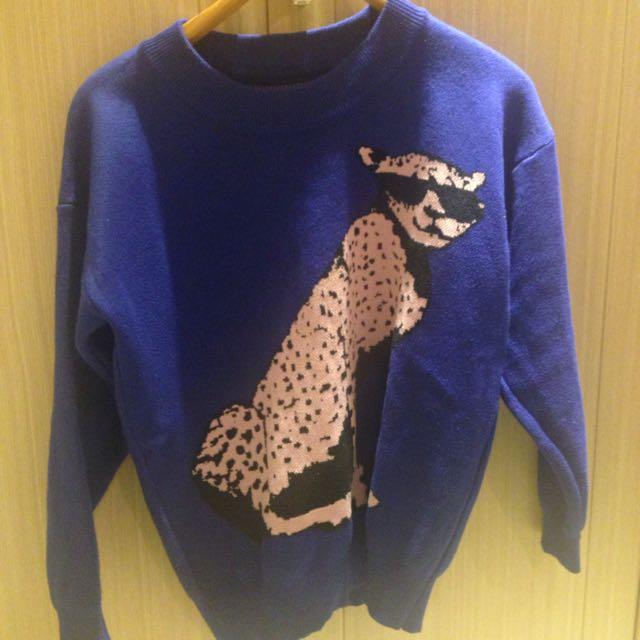 韓系質感毛衣 可愛亮藍粉豹