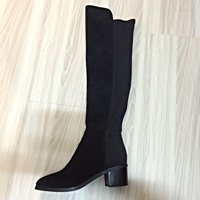 麂皮拼接好質感膝上靴 過膝靴 24.5