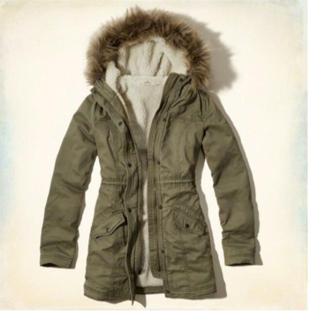 Hollister Jack Creek 腰身綁帶 熊寶寶 平織 長版 風衣 軍外套 XS/ 橄欖綠