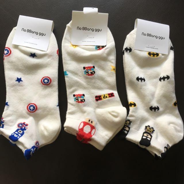 BNWT In Stocks Mario, Bat Man Socks