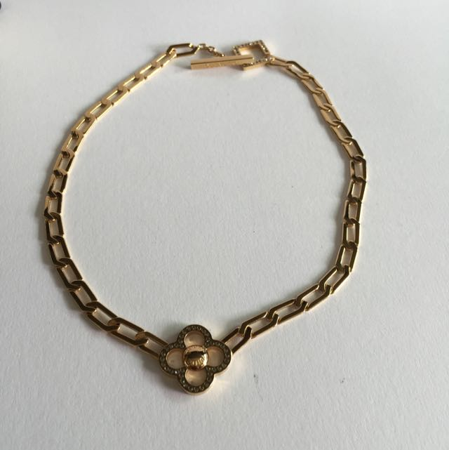 Brand New LV Louis Vuitton Crystal Gold Played Choker Necklace