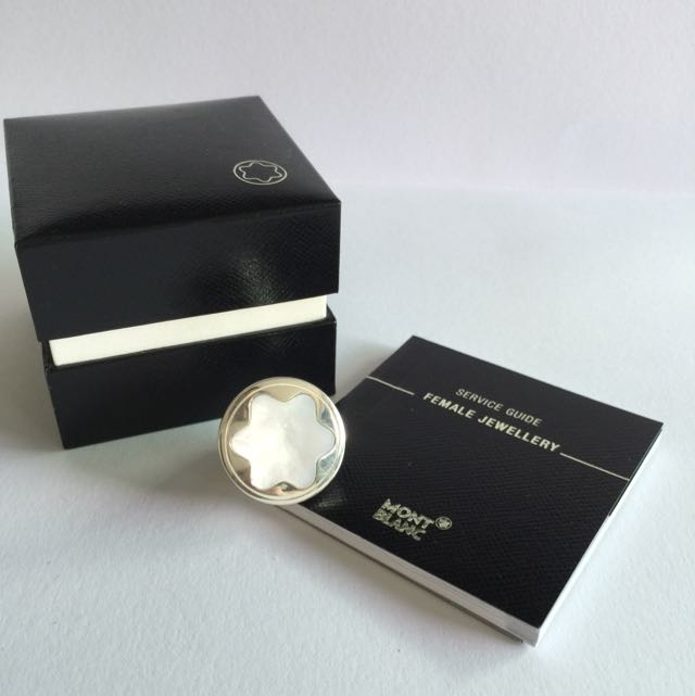 Brand New MB Mont Blanc Silver Ring W Mother Of Pearl Emblem Size 54