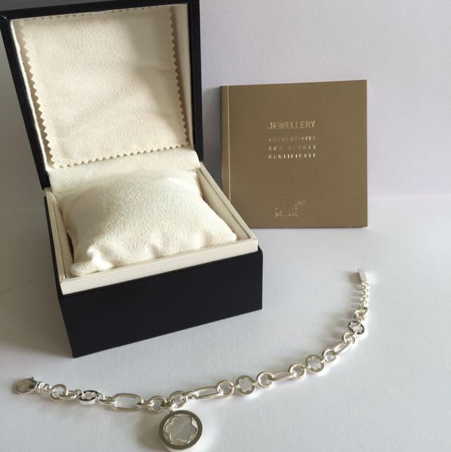 Brand New Mont Blanc Silver Bracelet W Mother Of Pearl Emblem