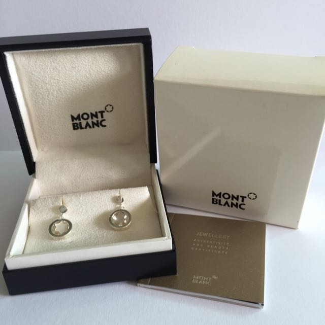 Brand New Mont Blanc Silver Earrings W Mother Of Pearl Emblems