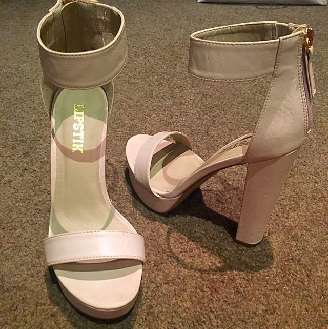Lipstick Nude Strap Zip Up Heels. Size 8.