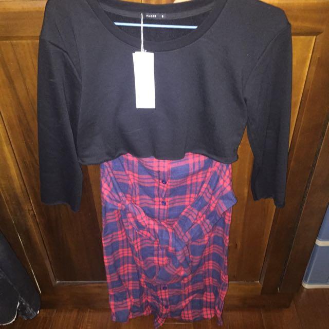 Pazzo 個性女孩拼接格紋腰綁帶洋裝