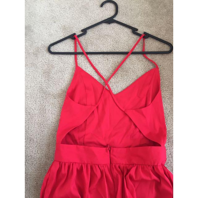 Red High Leg Split Maxi Dress