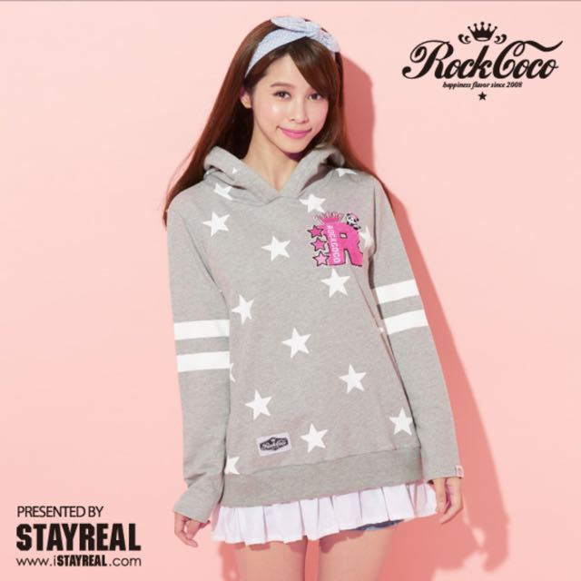 Stayreal  Rock Coco 明日之星 灰色帽T   XS號