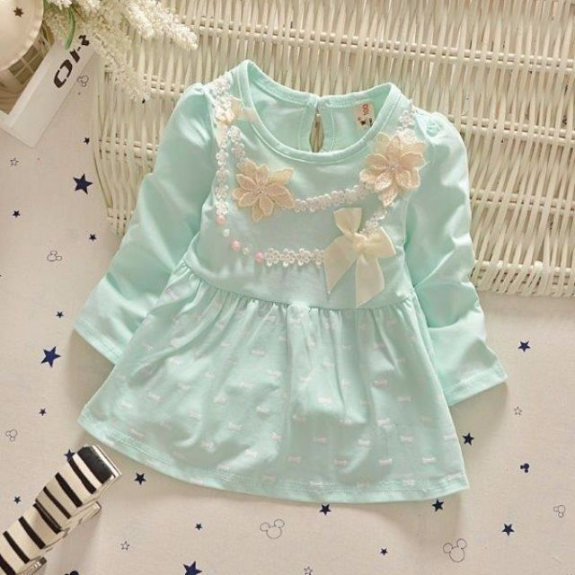 002 GREEN FLOWER - Baju Korea Anak