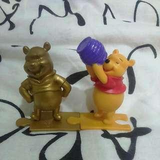 (兩隻)小熊維尼 蜂蜜罐 金色小熊維尼