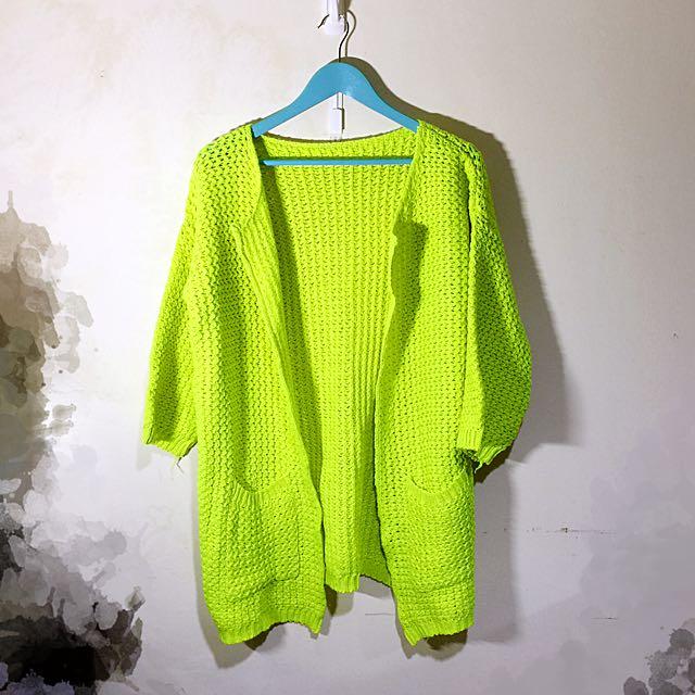 160含運 螢光綠粗鉤織針織罩衫