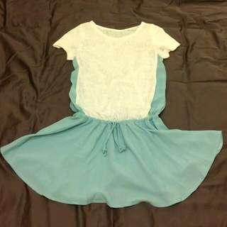 蒂芬妮綠白可愛小洋裝