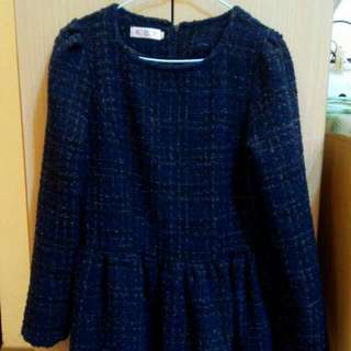 小香風針織格紋厚毛呢洋裝連身裙